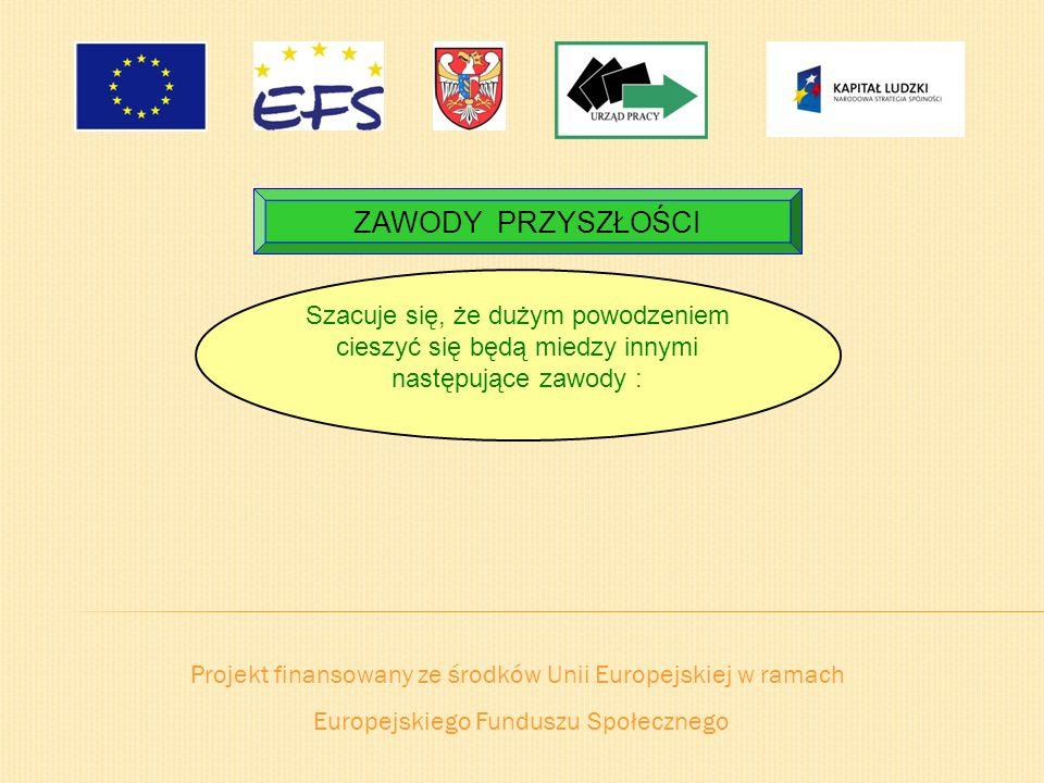 Projekt finansowany ze środków Unii Europejskiej w ramach Europejskiego Funduszu Społecznego ZAWODY PRZYSZŁOŚCI Szacuje się, że dużym powodzeniem cies