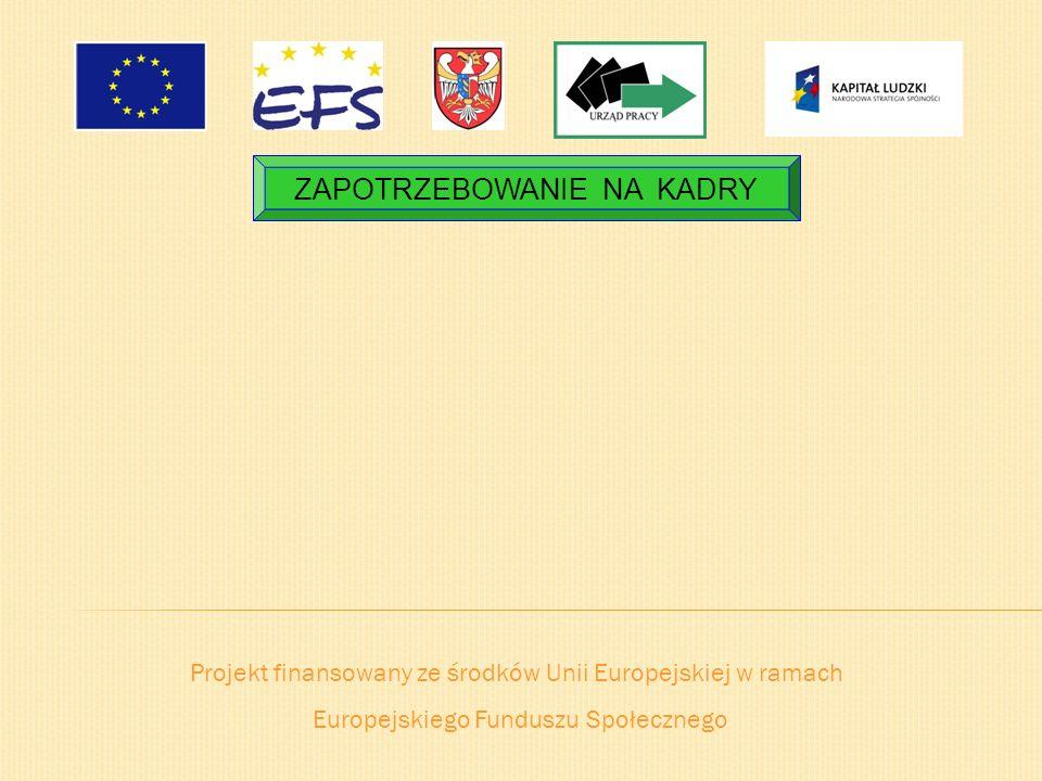Projekt finansowany ze środków Unii Europejskiej w ramach Europejskiego Funduszu Społecznego ZAPOTRZEBOWANIE NA KADRY
