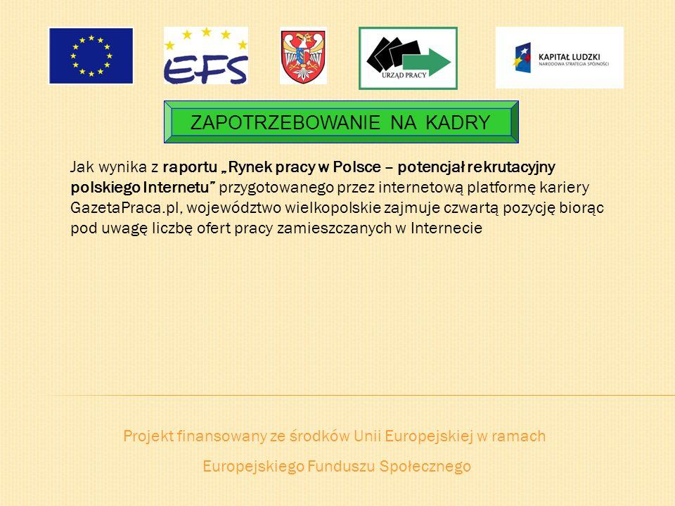 Projekt finansowany ze środków Unii Europejskiej w ramach Europejskiego Funduszu Społecznego ZAPOTRZEBOWANIE NA KADRY Jak wynika z raportu Rynek pracy