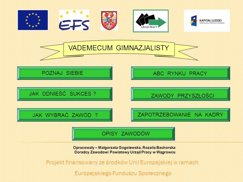 Projekt finansowany ze środków Unii Europejskiej w ramach Europejskiego Funduszu Społecznego VADEMECUM GIMNAZJALISTY JAK WYBRAĆ ZAWÓD ? ABC RYNKU PRAC