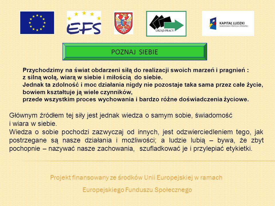 Projekt finansowany ze środków Unii Europejskiej w ramach Europejskiego Funduszu Społecznego POZNAJ SIEBIE Przychodzimy na świat obdarzeni siłą do rea