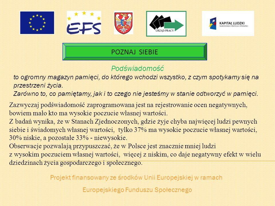 Projekt finansowany ze środków Unii Europejskiej w ramach Europejskiego Funduszu Społecznego POZNAJ SIEBIE Podświadomość to ogromny magazyn pamięci, d