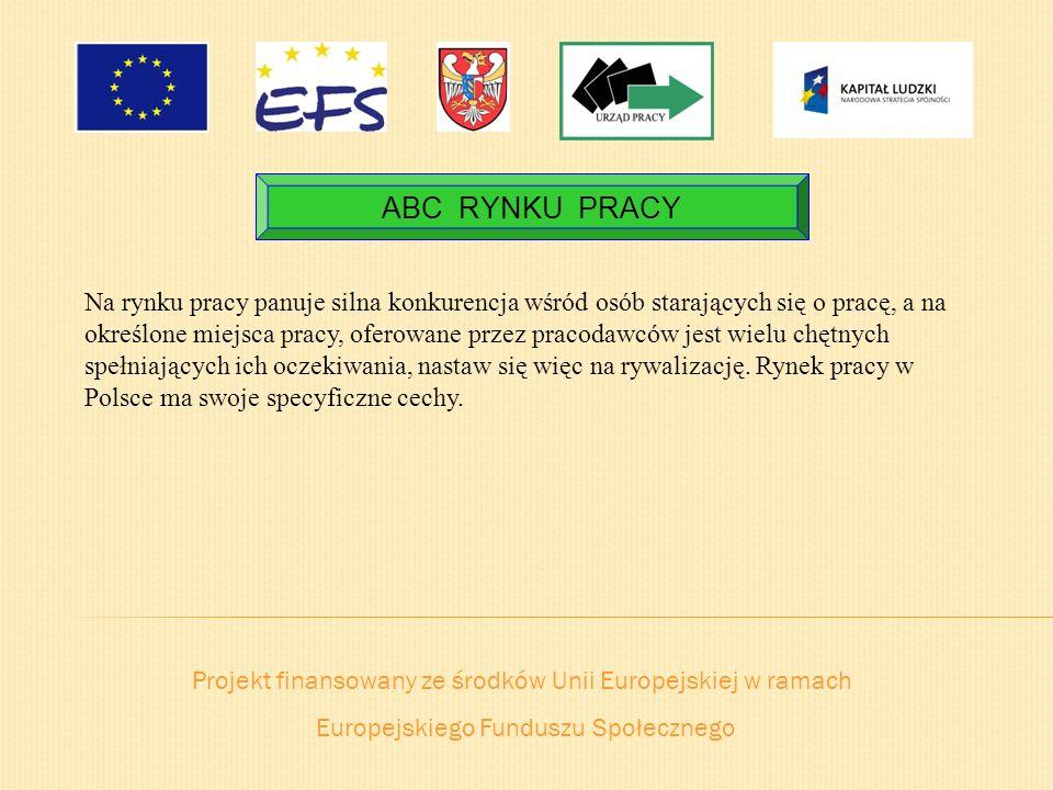Projekt finansowany ze środków Unii Europejskiej w ramach Europejskiego Funduszu Społecznego ABC RYNKU PRACY Na rynku pracy panuje silna konkurencja w