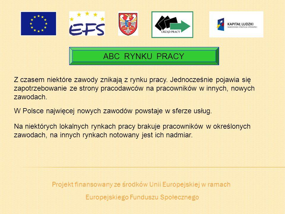 Projekt finansowany ze środków Unii Europejskiej w ramach Europejskiego Funduszu Społecznego ABC RYNKU PRACY Z czasem niektóre zawody znikają z rynku