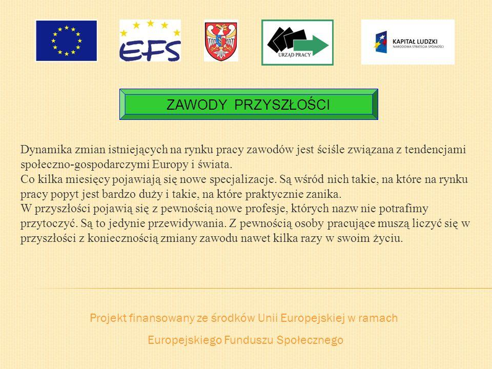 Projekt finansowany ze środków Unii Europejskiej w ramach Europejskiego Funduszu Społecznego ZAWODY PRZYSZŁOŚCI Dynamika zmian istniejących na rynku p