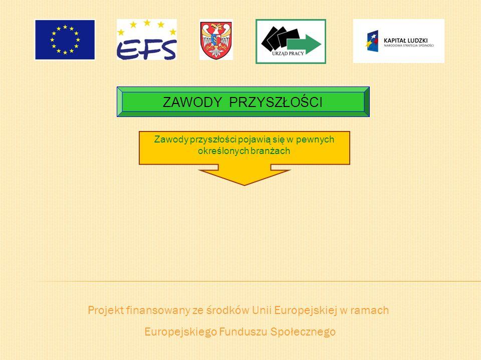 Projekt finansowany ze środków Unii Europejskiej w ramach Europejskiego Funduszu Społecznego ZAWODY PRZYSZŁOŚCI Zawody przyszłości pojawią się w pewny