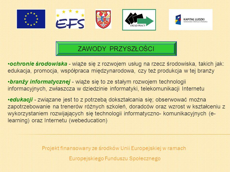 Projekt finansowany ze środków Unii Europejskiej w ramach Europejskiego Funduszu Społecznego ZAWODY PRZYSZŁOŚCI ochronie środowiska - wiąże się z rozw