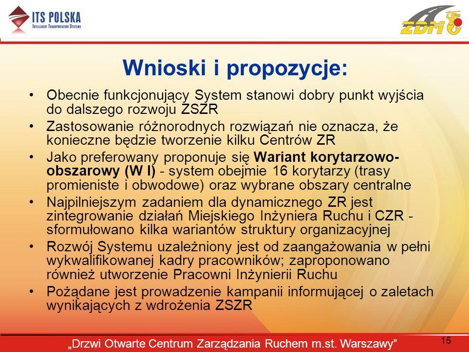 15 Drzwi Otwarte Centrum Zarządzania Ruchem m.st. Warszawy Wnioski i propozycje: Obecnie funkcjonujący System stanowi dobry punkt wyjścia do dalszego