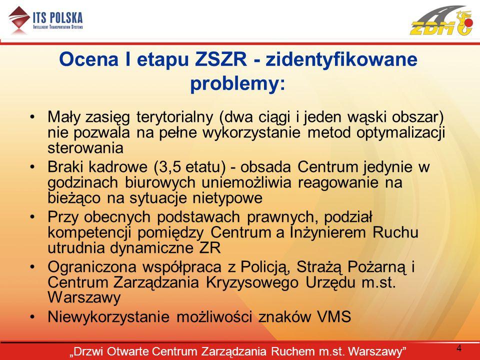 4 Drzwi Otwarte Centrum Zarządzania Ruchem m.st. Warszawy Ocena I etapu ZSZR - zidentyfikowane problemy: Mały zasięg terytorialny (dwa ciągi i jeden w