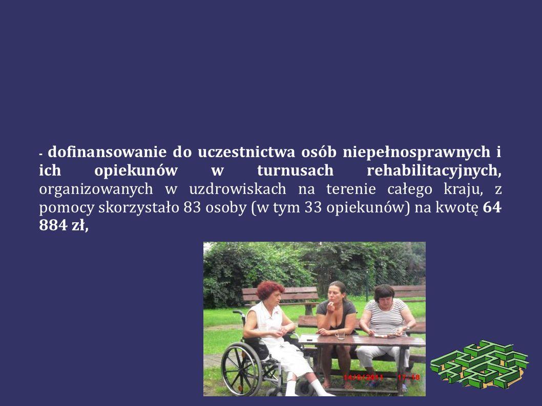 - dofinansowanie do uczestnictwa osób niepełnosprawnych i ich opiekunów w turnusach rehabilitacyjnych, organizowanych w uzdrowiskach na terenie całego