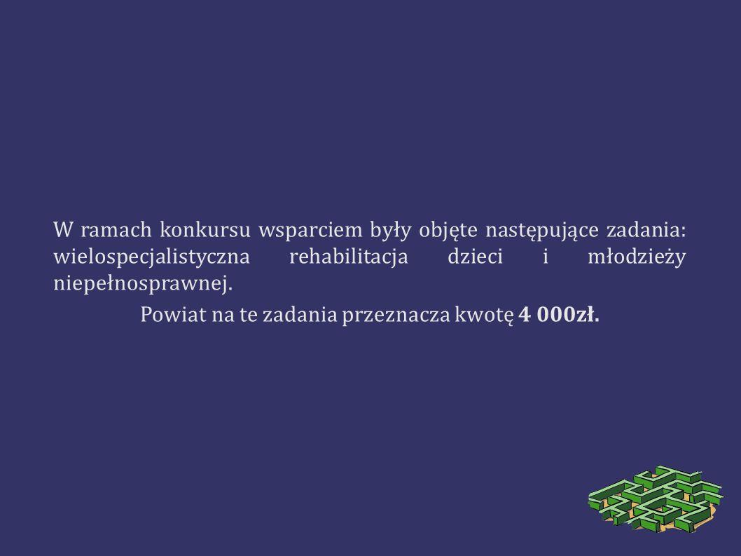 W ramach konkursu wsparciem były objęte następujące zadania: wielospecjalistyczna rehabilitacja dzieci i młodzieży niepełnosprawnej. Powiat na te zada