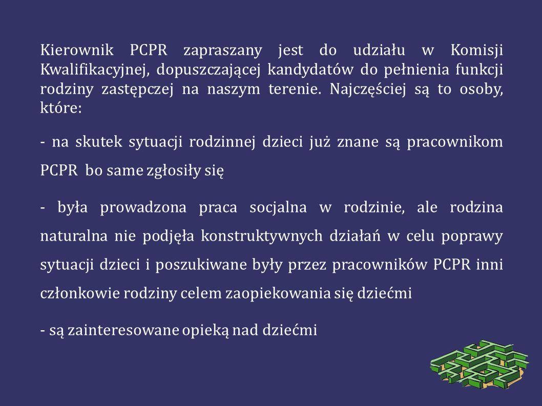 Kierownik PCPR zapraszany jest do udziału w Komisji Kwalifikacyjnej, dopuszczającej kandydatów do pełnienia funkcji rodziny zastępczej na naszym teren