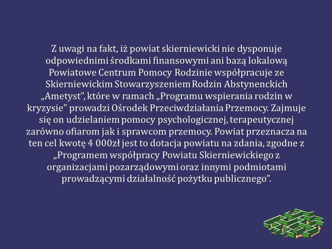Z uwagi na fakt, iż powiat skierniewicki nie dysponuje odpowiednimi środkami finansowymi ani bazą lokalową Powiatowe Centrum Pomocy Rodzinie współprac