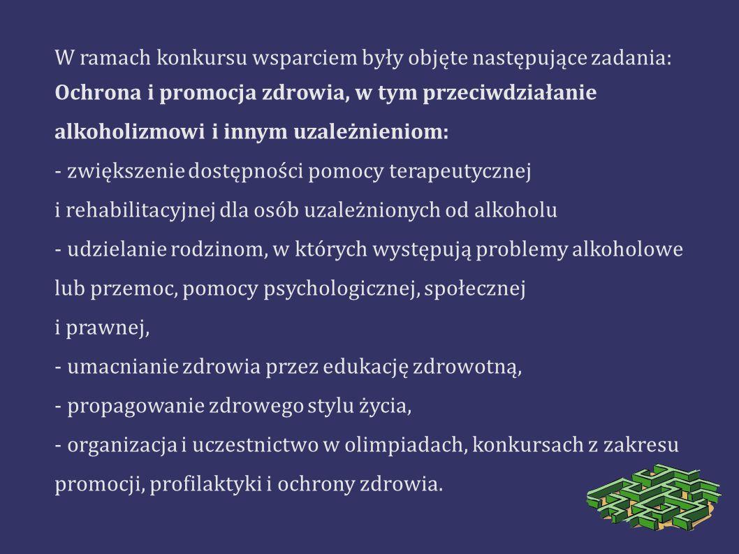 W ramach konkursu wsparciem były objęte następujące zadania: Ochrona i promocja zdrowia, w tym przeciwdziałanie alkoholizmowi i innym uzależnieniom: -
