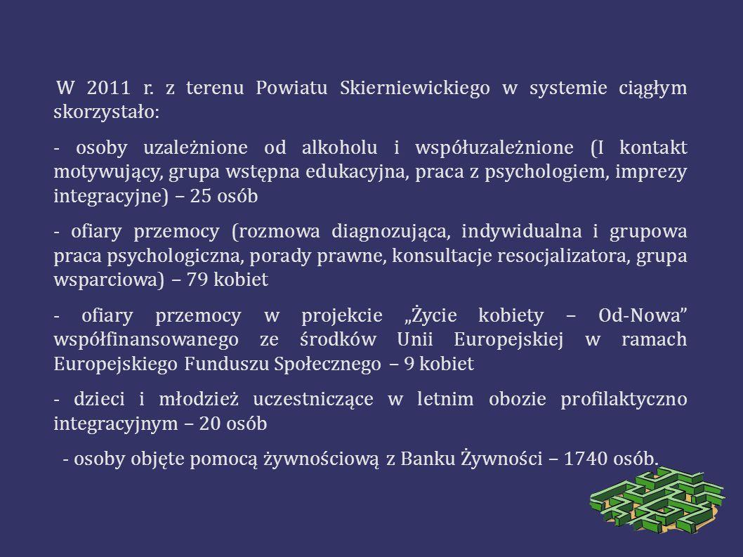 W 2011 r. z terenu Powiatu Skierniewickiego w systemie ciągłym skorzystało: - osoby uzależnione od alkoholu i współuzależnione (I kontakt motywujący,