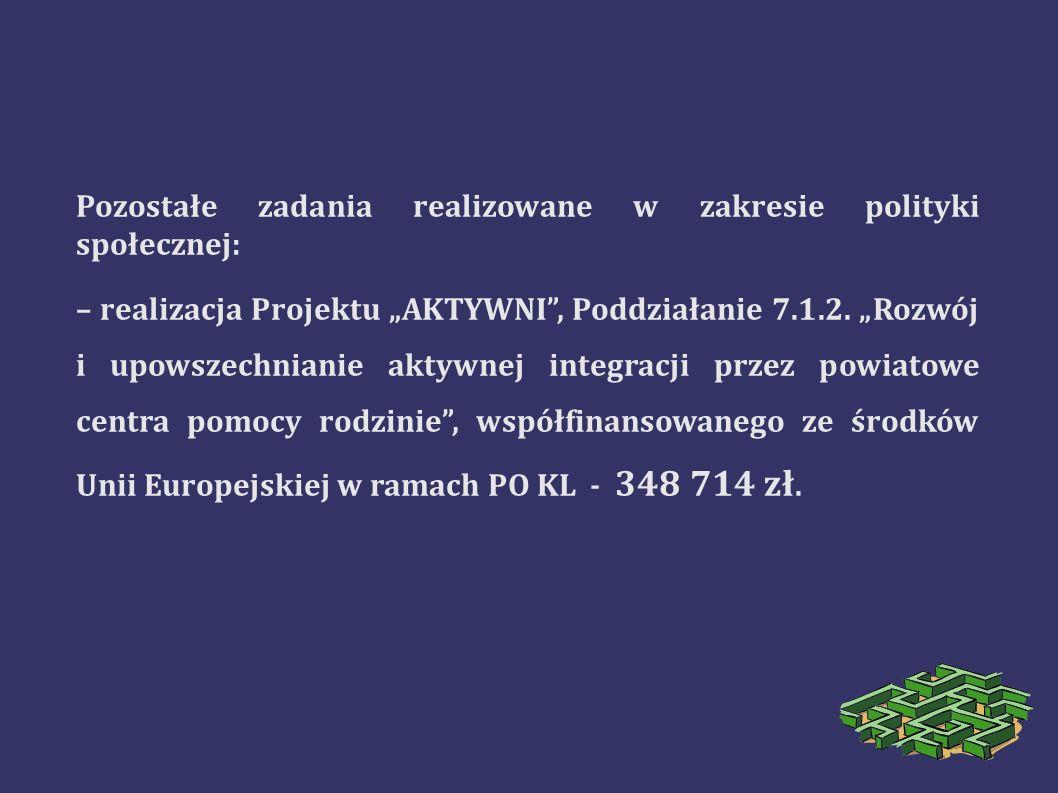 Pozostałe zadania realizowane w zakresie polityki społecznej: – realizacja Projektu AKTYWNI, Poddziałanie 7.1.2. Rozwój i upowszechnianie aktywnej int
