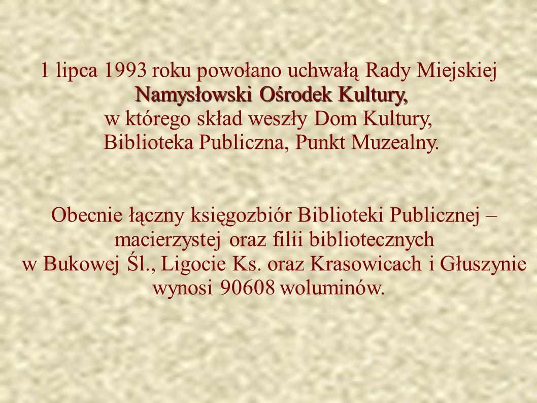 1 lipca 1993 roku powołano uchwałą Rady Miejskiej Namysłowski Ośrodek Kultury, w którego skład weszły Dom Kultury, Biblioteka Publiczna, Punkt Muzealny.