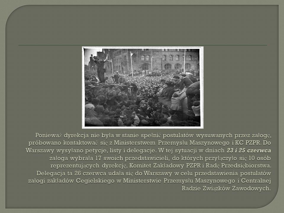 Delegaci ZISPO 26 czerwca 1956 roku w Ministerstwie Przemys ł u Maszynowego w Warszawie przedstawili ministrowi Romanowi Fidelskiemu nast ę puj ą ce żą dania: zwrotu nies ł usznie potr ą conego podatku (ok.