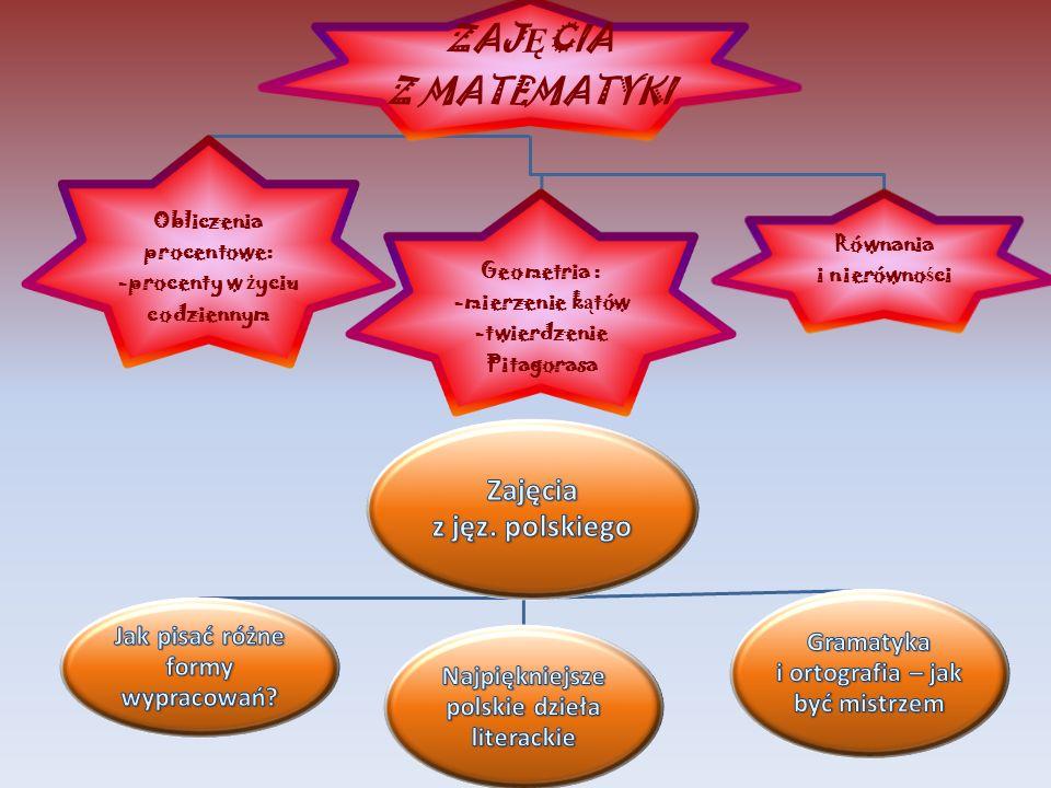 ZAJ Ę CIA Z MATEMATYKI Obliczenia procentowe: -procenty w ż yciu codziennym Geometria : -mierzenie k ą tów -twierdzenie Pitagorasa Równania i nierówno ś ci