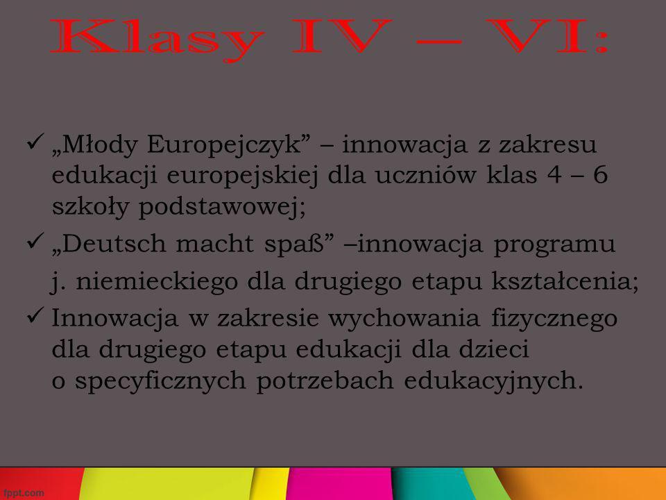 Innowacja sportowa Spędzamy aktywnie wolny czas; Zabawy o zabarwieniu teatralno- filmowym; Kształtowanie kultury logicznej uczniów w nauczaniu zintegrowanym ze szczególnym uwzględnieniem matematycznych rozrywek umysłowych; Program do zajęć wyrównawczych, doskonalący grafomotorykę Ja też potrafię; Wir singen und lernen – rozszerzenie kompetencji językowych poprzez śpiewanie autentycznych piosenek w języku niemieckim