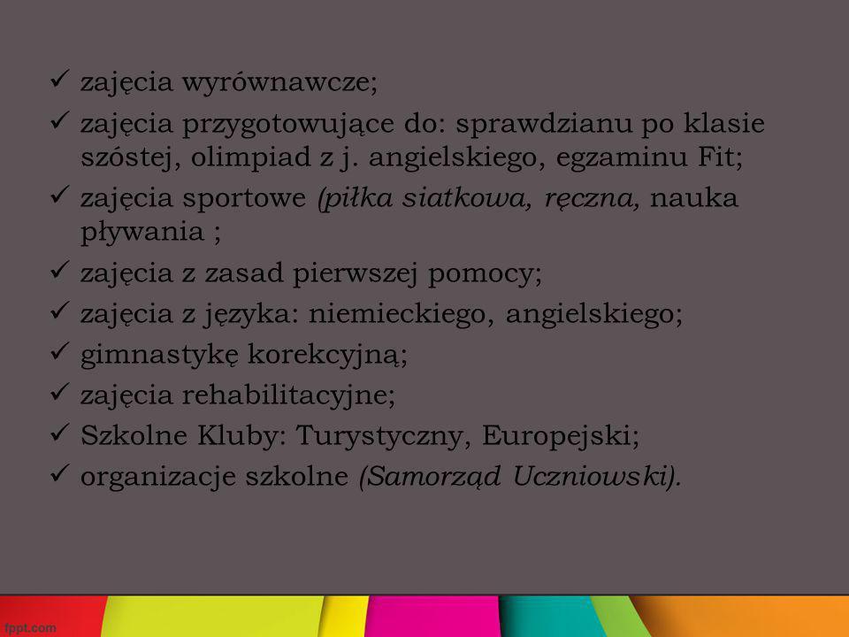 liczne koła zainteresowań: informatyczne, plastyczne, polonistyczne, Ortograffiti, matematyczne, historyczno – archeologiczne, chór, Caritas, podróżnika,