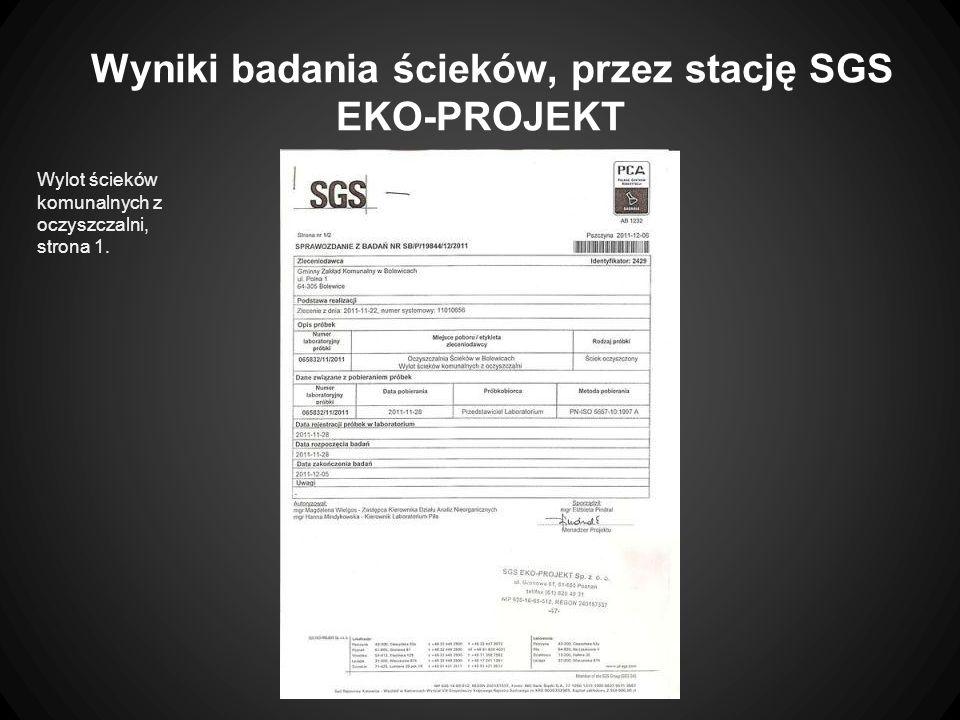 Wyniki badania ścieków, przez stację SGS EKO-PROJEKT Wylot ścieków komunalnych z oczyszczalni, strona 1.