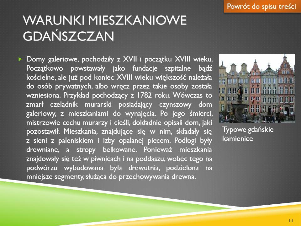 WARUNKI MIESZKANIOWE GDAŃSZCZAN Domy galeriowe, pochodziły z XVII i początku XVIII wieku. Początkowo powstawały jako fundacje szpitalne bądź kościelne