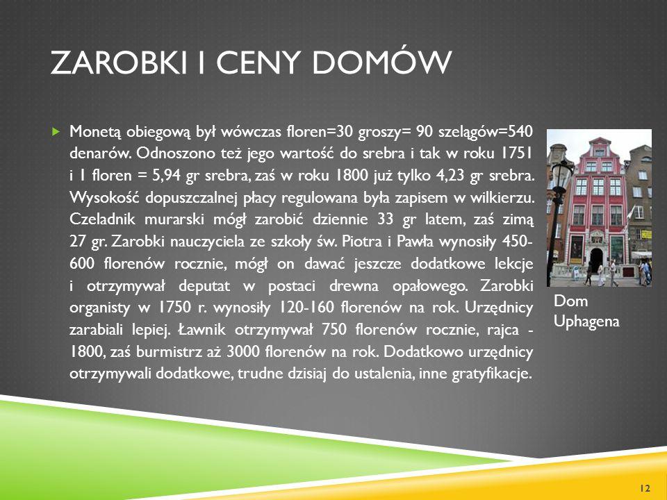 ZAROBKI I CENY DOMÓW Monetą obiegową był wówczas floren=30 groszy= 90 szelągów=540 denarów. Odnoszono też jego wartość do srebra i tak w roku 1751 i 1
