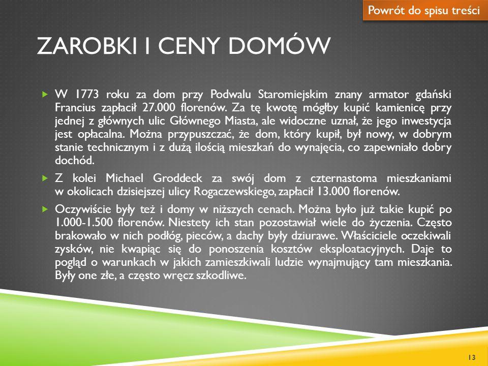 ZAROBKI I CENY DOMÓW W 1773 roku za dom przy Podwalu Staromiejskim znany armator gdański Francius zapłacił 27.000 florenów. Za tę kwotę mógłby kupić k