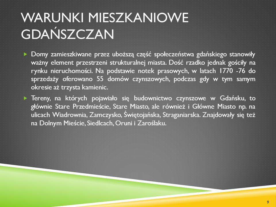 WARUNKI MIESZKANIOWE GDAŃSZCZAN Domy zamieszkiwane przez uboższą część społeczeństwa gdańskiego stanowiły ważny element przestrzeni strukturalnej mias