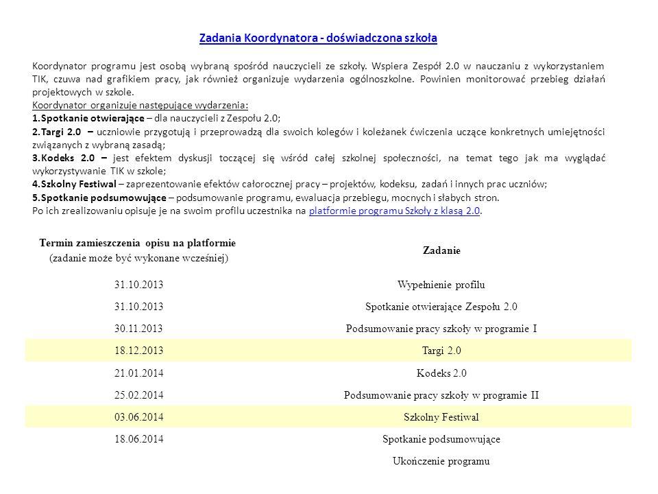 Termin zamieszczenia opisu na platformie (zadanie może być wykonane wcześniej) Zadanie 31.10.2013Wypełnienie profilu 31.10.2013Spotkanie otwierające Z
