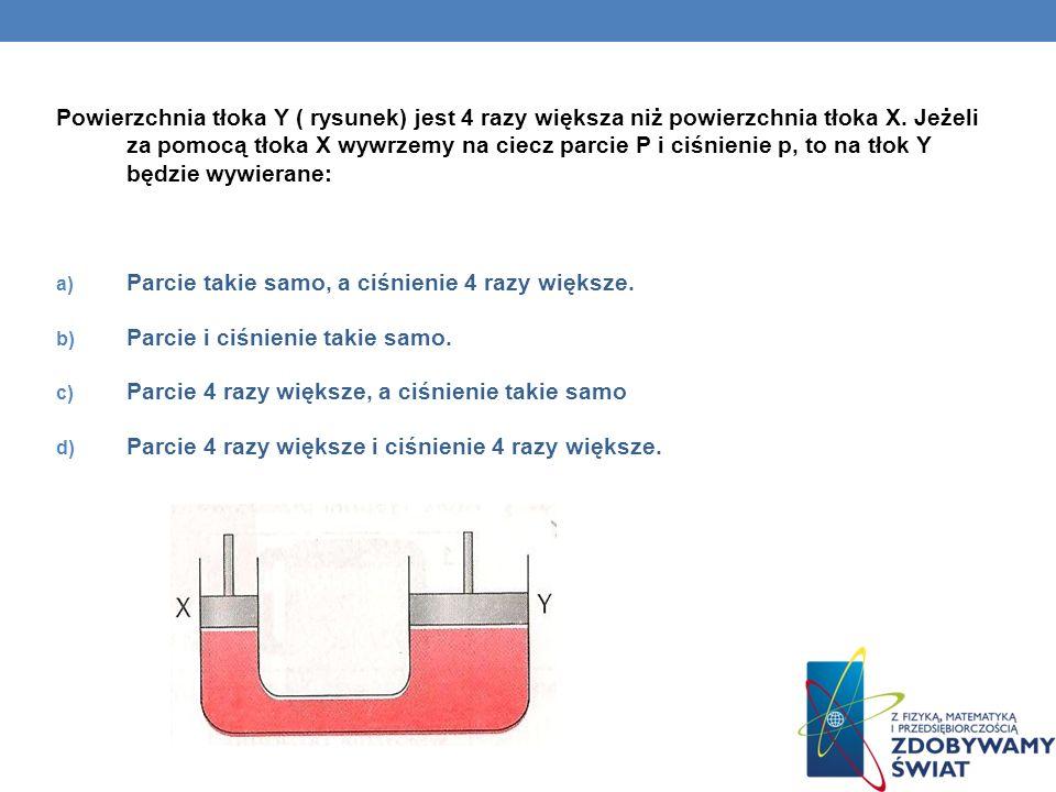 Powierzchnia tłoka Y ( rysunek) jest 4 razy większa niż powierzchnia tłoka X. Jeżeli za pomocą tłoka X wywrzemy na ciecz parcie P i ciśnienie p, to na