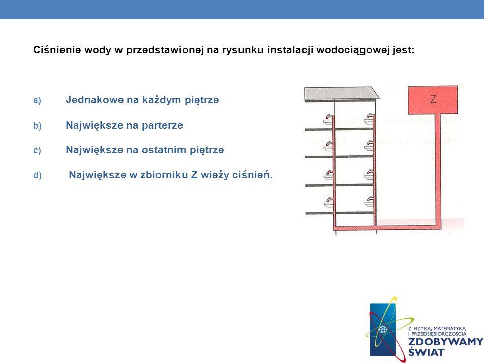 Ciśnienie wody w przedstawionej na rysunku instalacji wodociągowej jest: a) Jednakowe na każdym piętrze b) Największe na parterze c) Największe na ost
