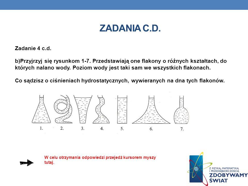 ZADANIA C.D. Zadanie 4 c.d. b)Przyjrzyj się rysunkom 1-7. Przedstawiają one flakony o różnych kształtach, do których nalano wody. Poziom wody jest tak