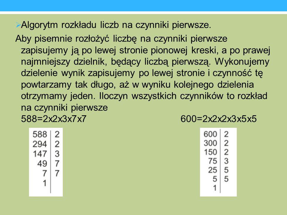 Algorytm rozkładu liczb na czynniki pierwsze. Aby pisemnie rozłożyć liczbę na czynniki pierwsze zapisujemy ją po lewej stronie pionowej kreski, a po p