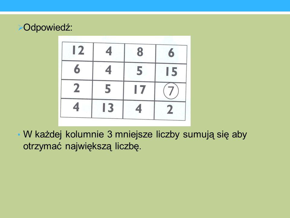Odpowiedź: W każdej kolumnie 3 mniejsze liczby sumują się aby otrzymać największą liczbę.