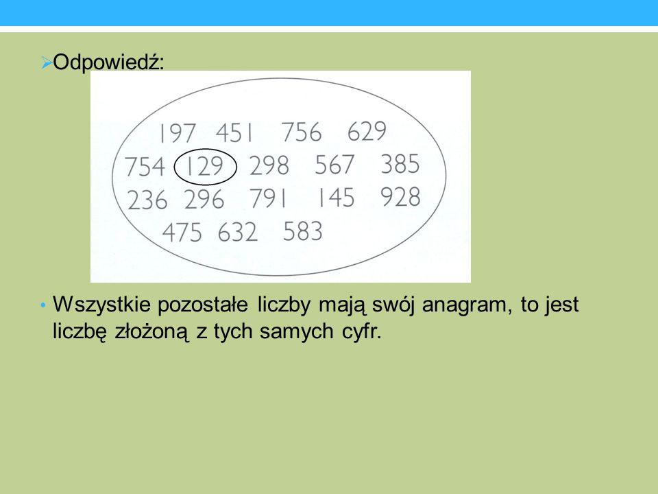 Odpowiedź: Wszystkie pozostałe liczby mają swój anagram, to jest liczbę złożoną z tych samych cyfr.