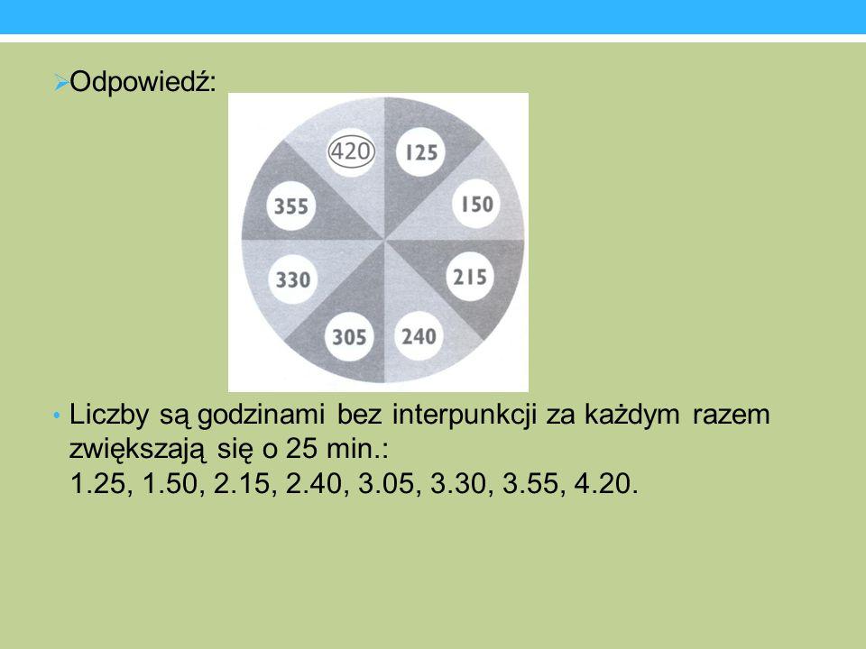 Odpowiedź: Liczby są godzinami bez interpunkcji za każdym razem zwiększają się o 25 min.: 1.25, 1.50, 2.15, 2.40, 3.05, 3.30, 3.55, 4.20.