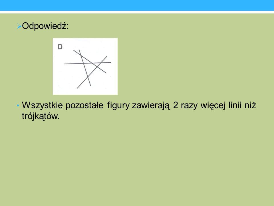 Odpowiedź: Wszystkie pozostałe figury zawierają 2 razy więcej linii niż trójkątów.