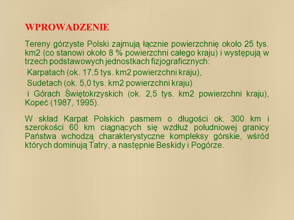 Tereny górzyste Polski zajmują łącznie powierzchnię około 25 tys. km2 (co stanowi około 8 % powierzchni całego kraju) i występują w trzech podstawowyc