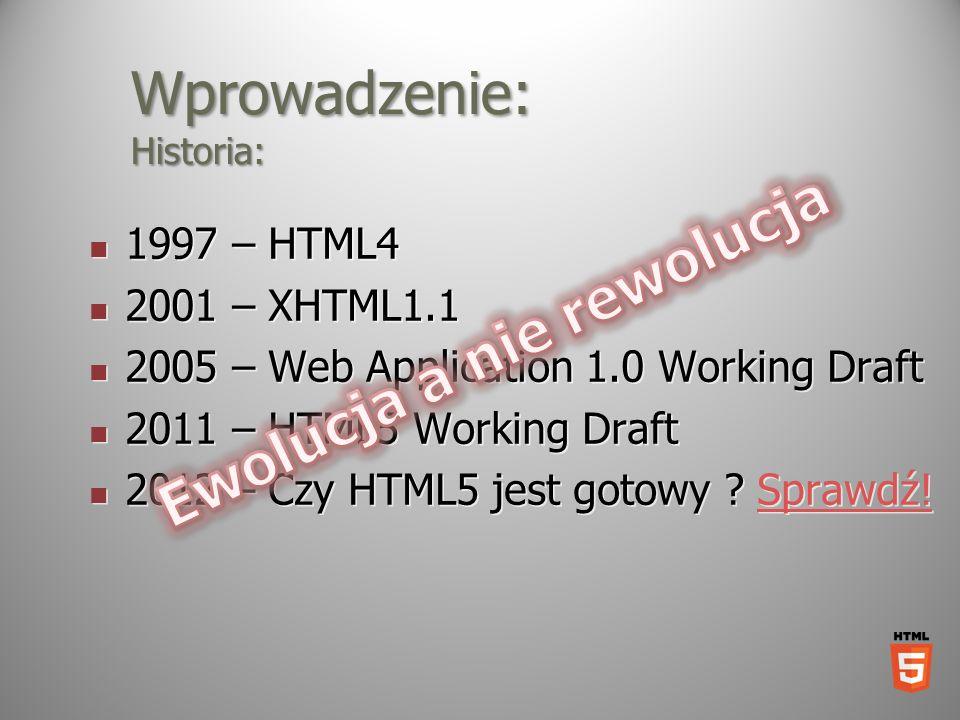 Wprowadzenie: Historia: 1997 – HTML4 1997 – HTML4 2001 – XHTML1.1 2001 – XHTML1.1 2005 – Web Application 1.0 Working Draft 2005 – Web Application 1.0