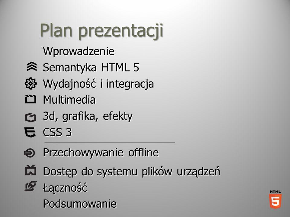 Plan prezentacji Wprowadzenie Semantyka HTML 5 Wydajność i integracja Multimedia 3d, grafika, efekty CSS 3 Przechowywanie offline Dostęp do systemu pl