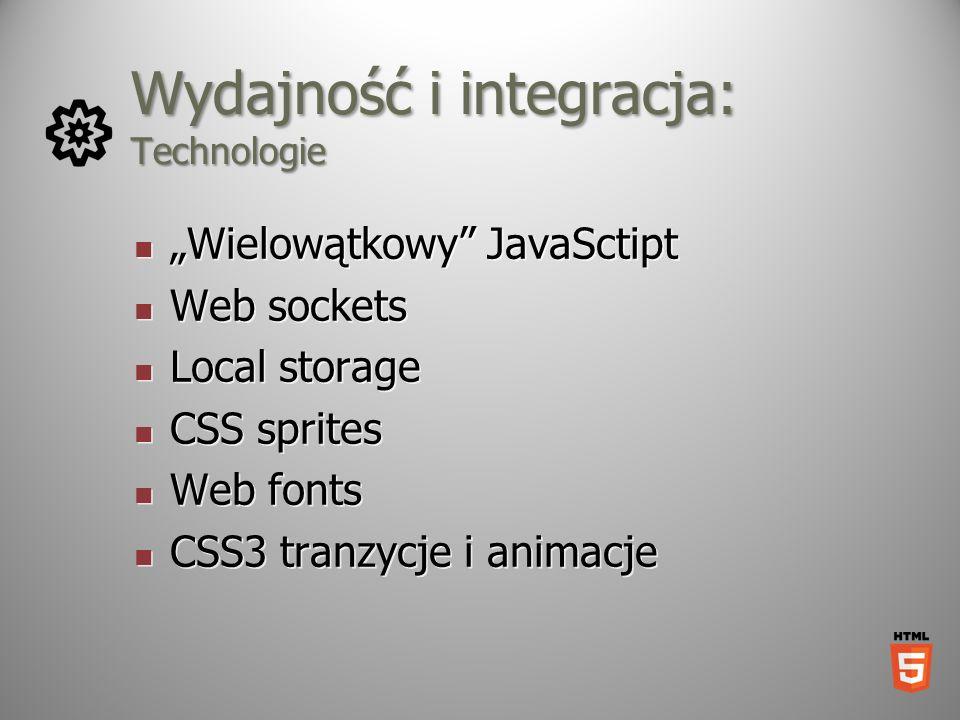 Wydajność i integracja: Technologie Wielowątkowy JavaSctipt Wielowątkowy JavaSctipt Web sockets Web sockets Local storage Local storage CSS sprites CS