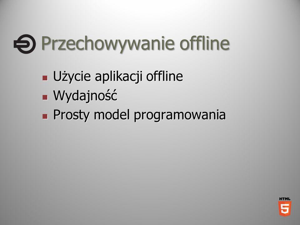 Przechowywanie offline Użycie aplikacji offline Użycie aplikacji offline Wydajność Wydajność Prosty model programowania Prosty model programowania