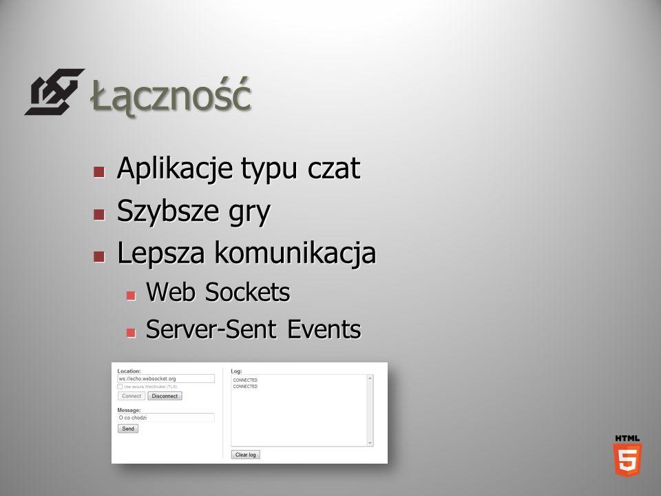 Łączność Aplikacje typu czat Aplikacje typu czat Szybsze gry Szybsze gry Lepsza komunikacja Lepsza komunikacja Web Sockets Web Sockets Server-Sent Eve
