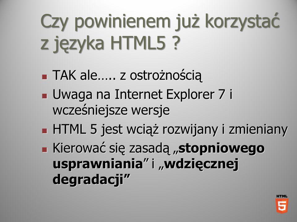 Czy powinienem już korzystać z języka HTML5 ? TAK ale….. z ostrożnością TAK ale….. z ostrożnością Uwaga na Internet Explorer 7 i wcześniejsze wersje U