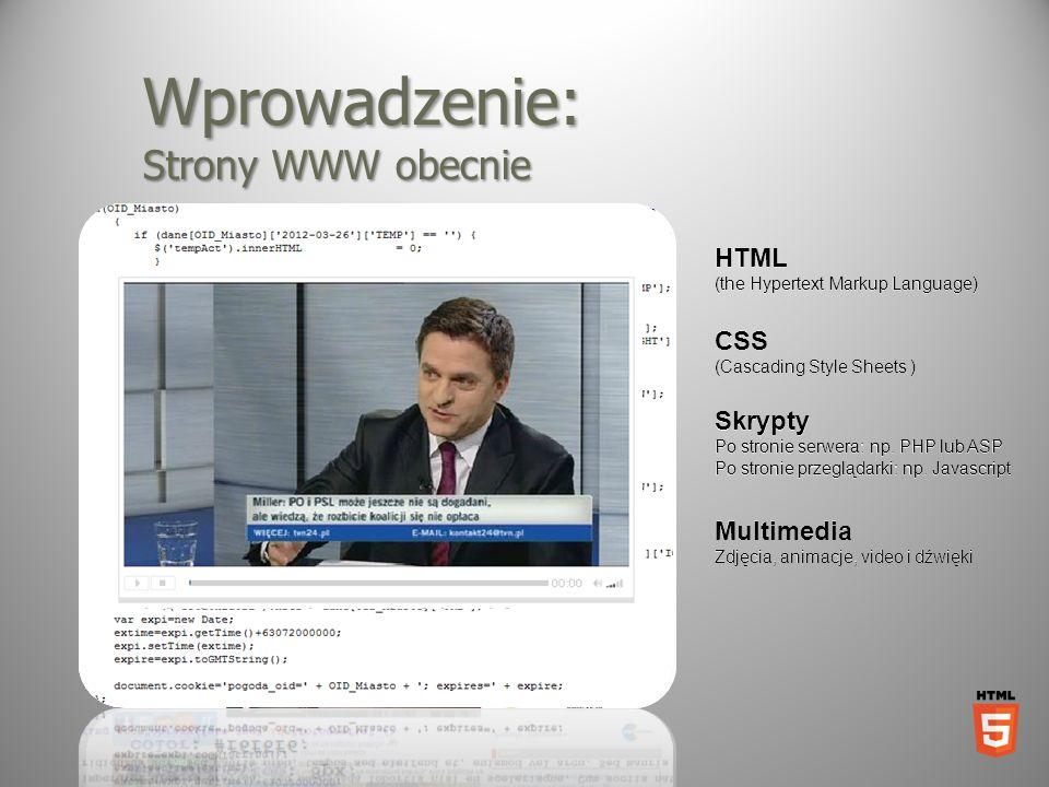 Wprowadzenie: Strony WWW obecnie HTML (the Hypertext Markup Language) CSS (Cascading Style Sheets ) Skrypty Po stronie serwera: np. PHP lub ASP Po str