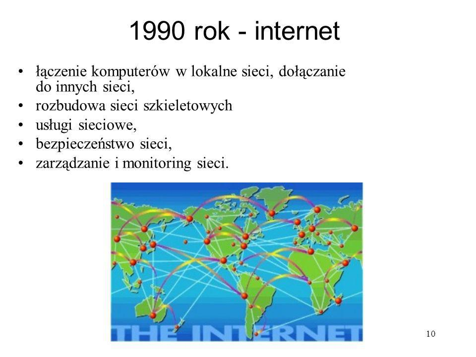 10 1990 rok - internet łączenie komputerów w lokalne sieci, dołączanie do innych sieci, rozbudowa sieci szkieletowych usługi sieciowe, bezpieczeństwo