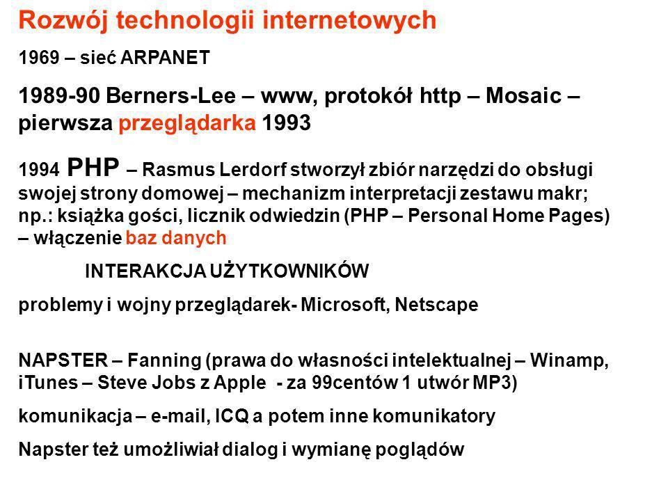 Rozwój technologii internetowych 1969 – sieć ARPANET 1989-90 Berners-Lee – www, protokół http – Mosaic – pierwsza przeglądarka 1993 1994 PHP – Rasmus