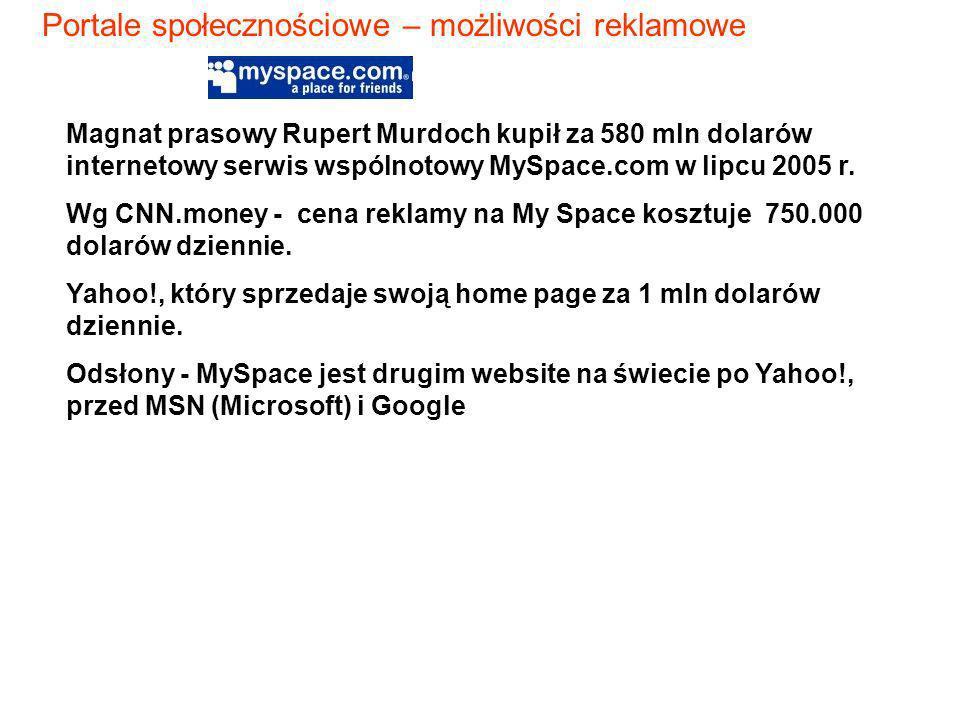 Magnat prasowy Rupert Murdoch kupił za 580 mln dolarów internetowy serwis wspólnotowy MySpace.com w lipcu 2005 r. Wg CNN.money - cena reklamy na My Sp
